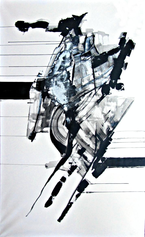 "Bárbara Carpi: ""Negro sobre blanco"".Öleo sobre lienzo,146x89 cm."