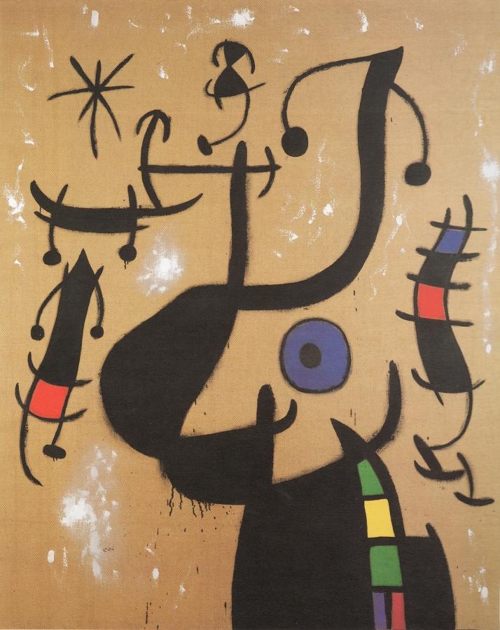 """Joan Miró: """"Femme et oiseau dans la nuit"""", 1967."""