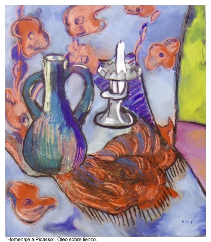 B. Carpi: Homenaje a Picasso. Óleo sobre lienzo, 60 por 70 cm.