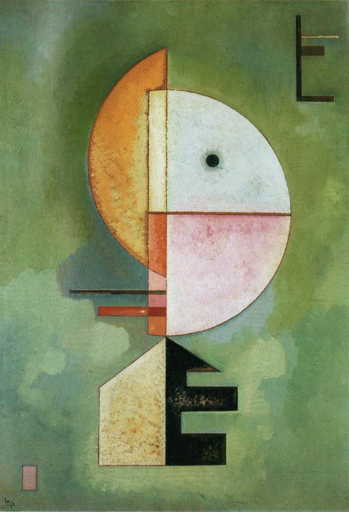 """Kandinsky: """"Hacia arriba"""". 70 por 49 cm. Óleo sobre cartón,1929. Peggy Gugenheim Museum, Venecia."""