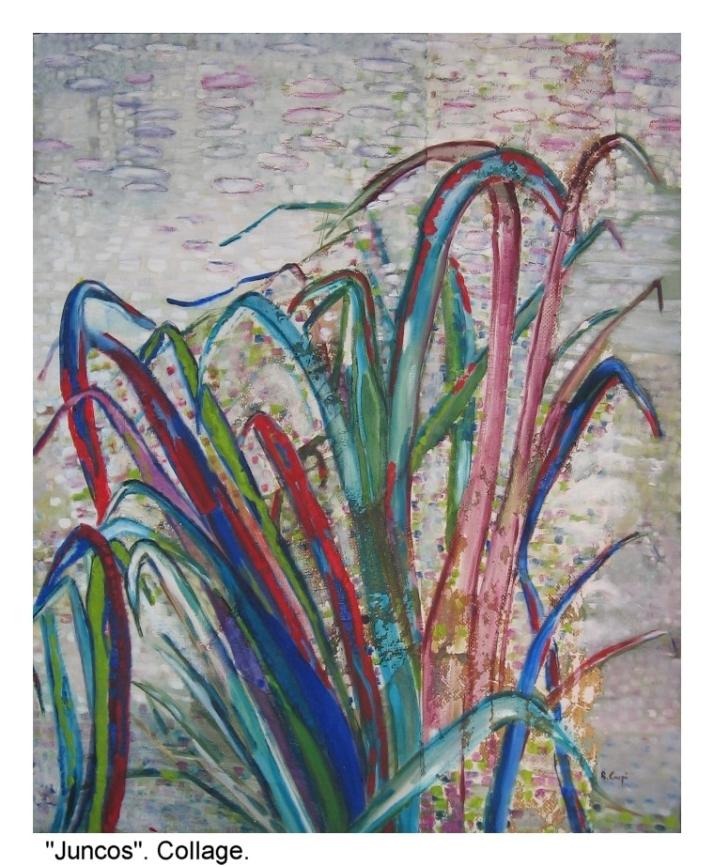 """Bárbara Carpi:""""Juncos"""", collage sobre lienzo."""