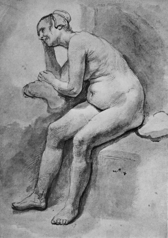 """Rembrandt: """"Mujer desnuda sentada girada a la izquierda"""". Lapiz y aguada con tinta china. Museo del Louvre."""