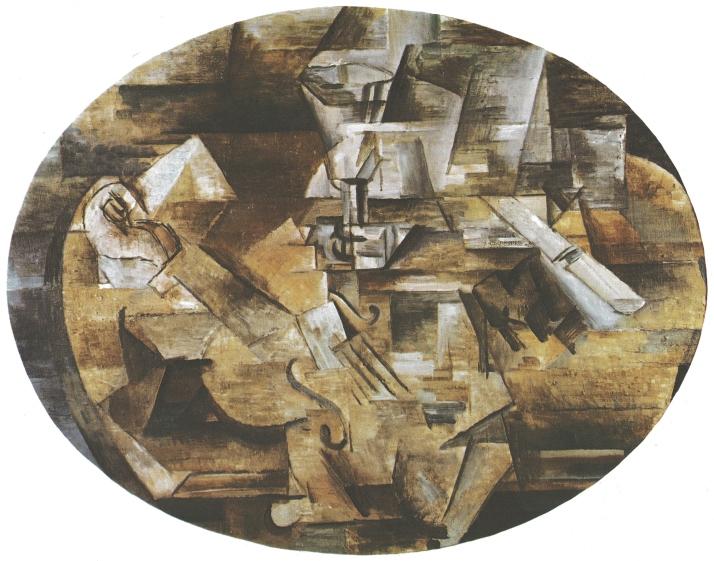 """George Braque. """"Violín y vaso"""". Praga, Galería Národní."""