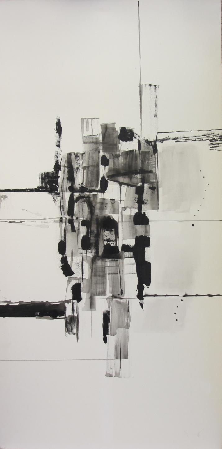 "Bárbara Carpi. ""Notre Dame"", óleo sobre lienzo. 140 x70."