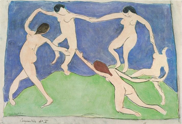 """Matisse, """"La danza"""" 1909. acuarela y tinta china sobre papel (22,1x 32 cm). Muse de Bellas Artes Pushkin, Moscú."""
