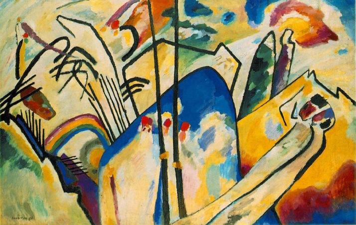 Kandinsky, Composición IV. Óleo sobre tela, 159 X 250 cm. Düsseldorf, Alemania. 1911.