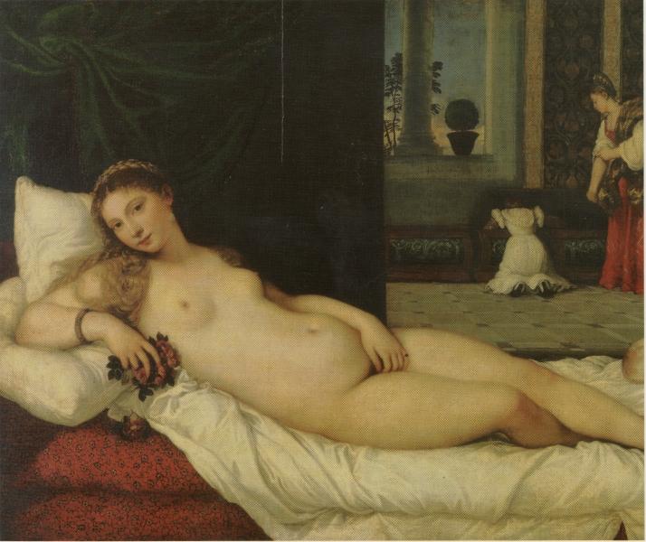 """Tiziano: """"La Venus de Urbino"""". Óleo sobre lienzo. 119 X 165 cm. Galleria degli Uffizi, Florencia."""