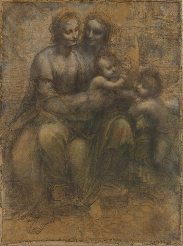 """Leonardo da Vinci: """"Virgen con Niño. Sta. Ana y S. Juan"""". 1505. Öleo, tiza y lápiz sobre cartón. National Gallery, Londres."""