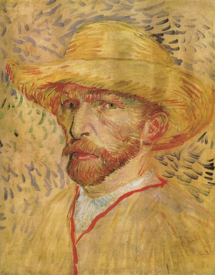 """Van Gogh: """"Autorretrato con sombrero de paja"""". Óleo sobre cartón (40x 32),1887."""