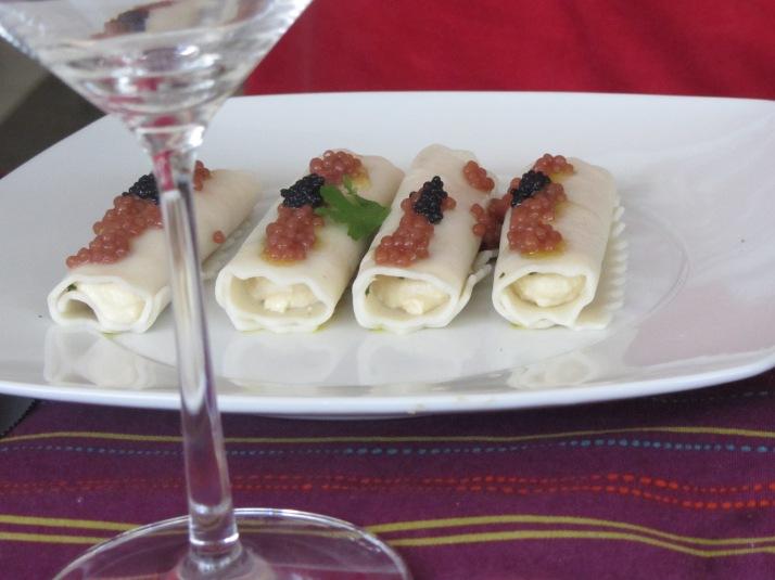Canelones con humus. Foto: Bárbara