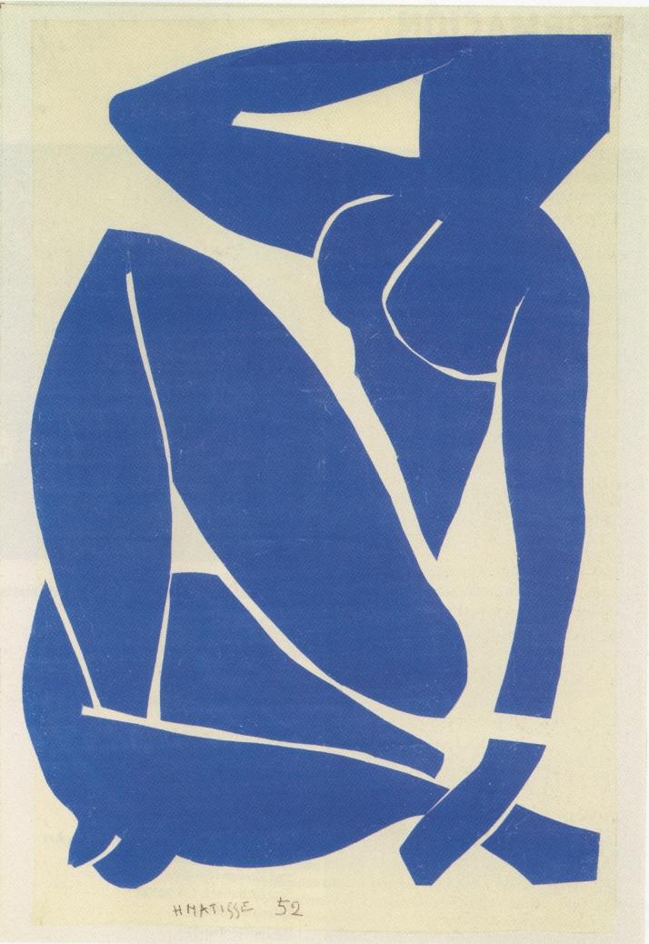 """Matisse: """"Desnudo azul III"""". Aguada recortada, 112 > 73 cm. Museo Nacional de Arte Moderno. París."""
