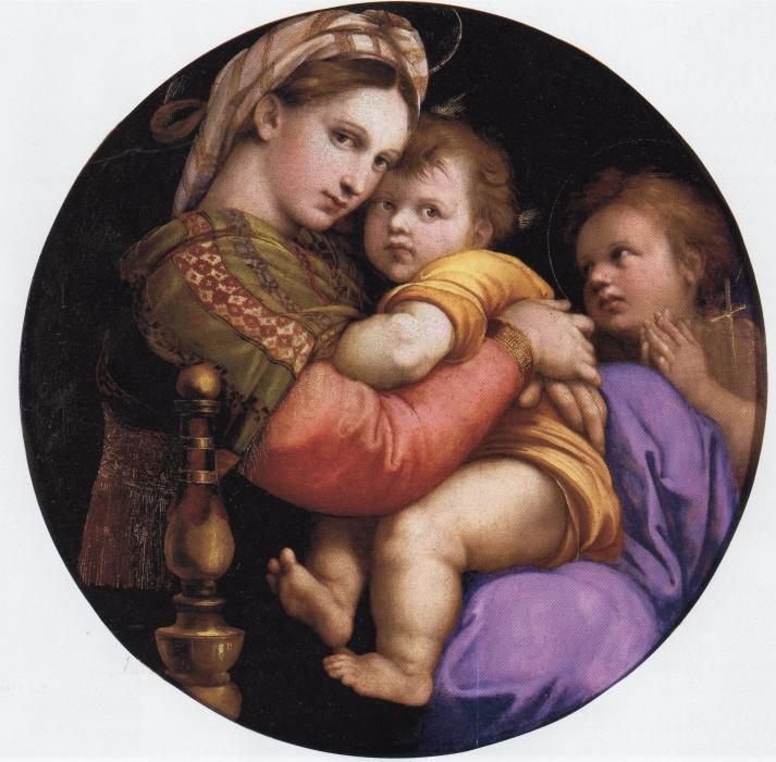 """Rafael: """"La Virgen de la silla"""". diámetro 71 cm. Palazzio Pitti. Florencia"""