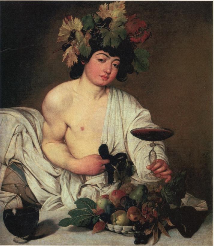 """Caravaggio: """"Baco"""". Óleo sobre lienzo,95 x85 cm. 1596. Galleria degli Uffizi. Florencia."""