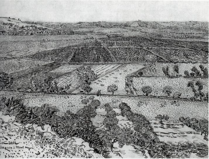 """Van Gog: """"la Plaine de la Crau, vue de Montmajour"""""""