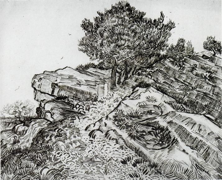 "Van Gogh: ""Rochers avec arbres: Montmajour"""