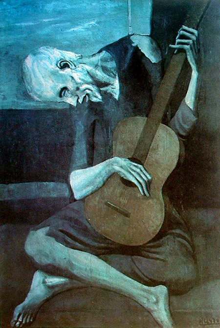 "Picasso: ""El guitarrista ciego"".Chicaho Art Institute, Colección Bartlett, Chicago."