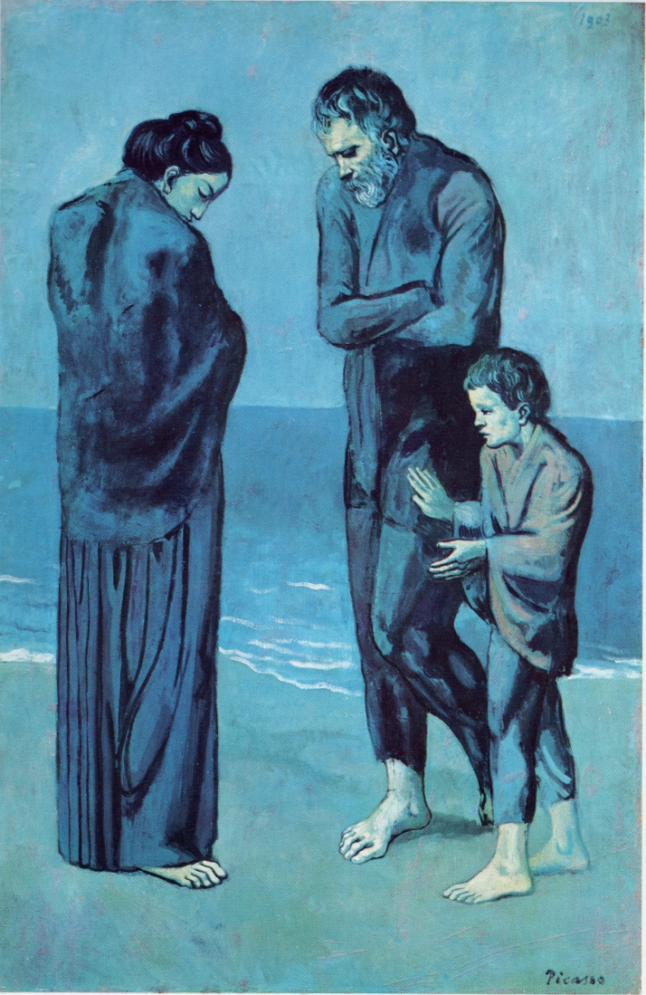 "Picasso: "" Mendigos junto al mar"". Óleo sobre tabla.  105 x 69. 1903. National Galley Of Art, Washington."