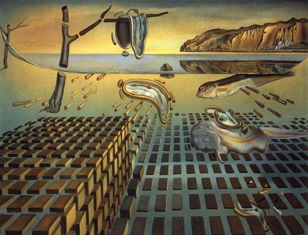 """Dalí: """"La desintegración de la persistencia de la memoria"""". Óleo sobre lienzo. 2952-1954."""
