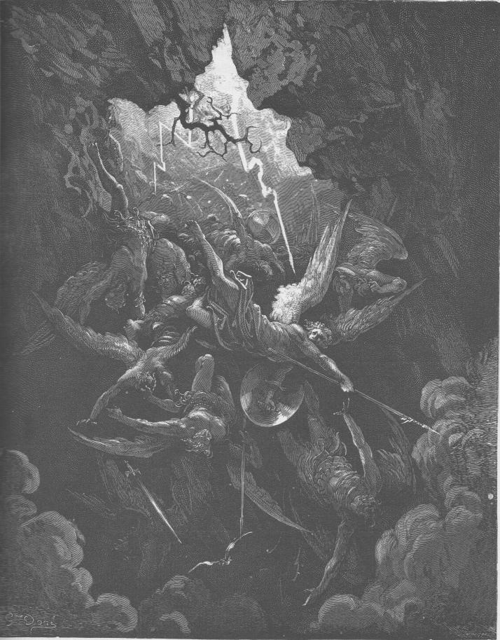 """""""Por fin abrió el infierno su boca, los tragó a todos y volvió a cerrarla"""".  Grabado de Gustavo Doré"""