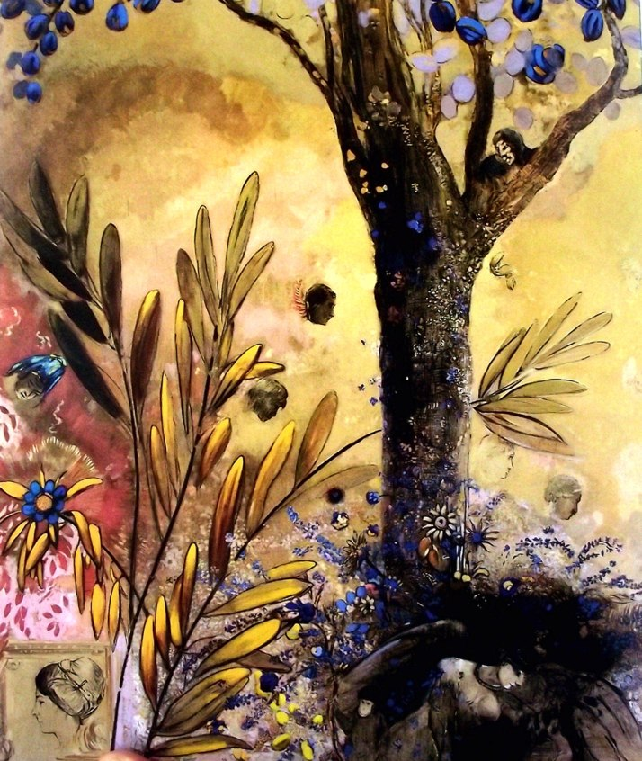 "Odilon Redon: ""La noche"". fragmento del panel. Óleo aobre lienzo. 1910. Abadía de Frontfroid."
