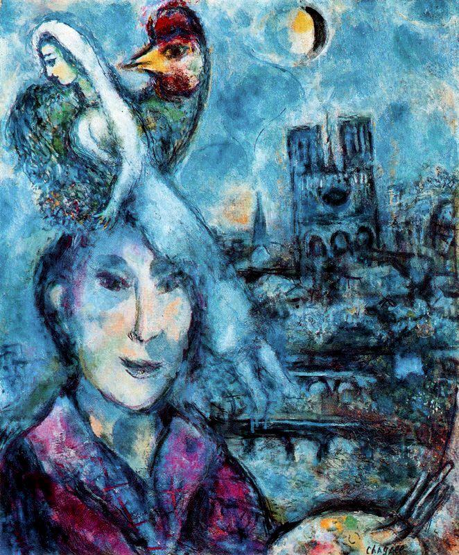 """Marc Chagall:  """"Autoretrato"""". 1968. 61 x 51. Óleo sobre lienzo. Galería de los Uffizi (Florencia)"""