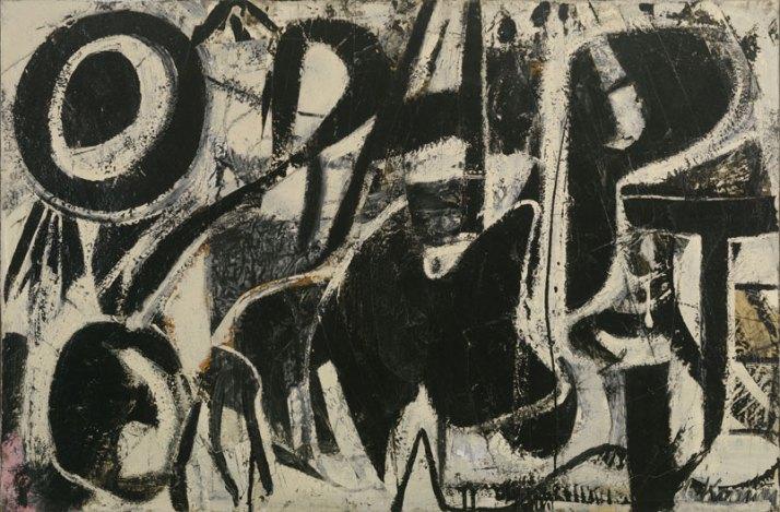 """Kooning: """"Orestes"""". 1947. Esmalte sobre papel montado sobre contrachapado. 61 x 91."""