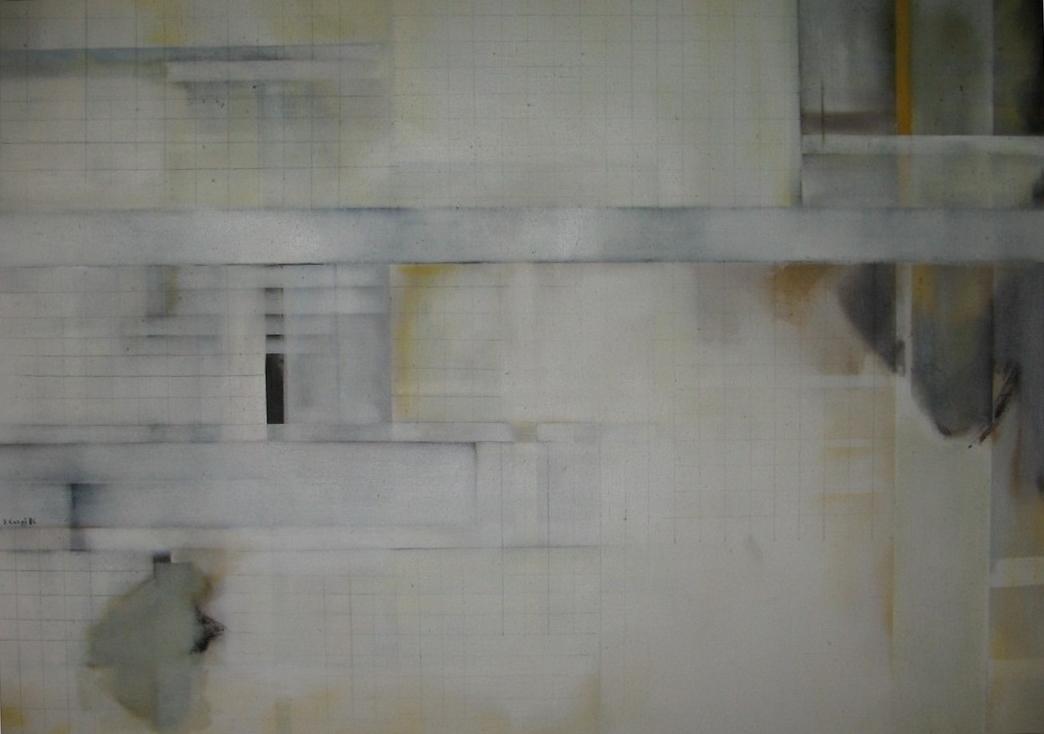 """Bárbara Carpi: """"Las hoces"""" (fragmento II). 163 x 98 cm. Óleo sobre lienzo, Colección privada."""
