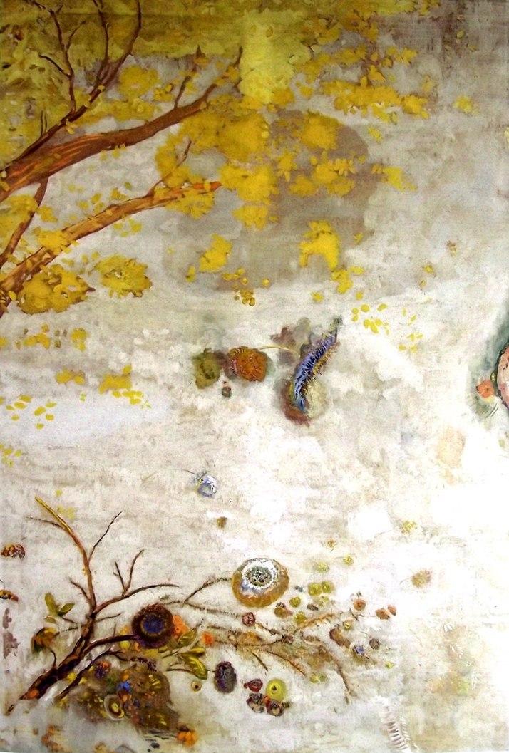 """Odilon Redon detalle de """"La rama florecida amarilla"""""""