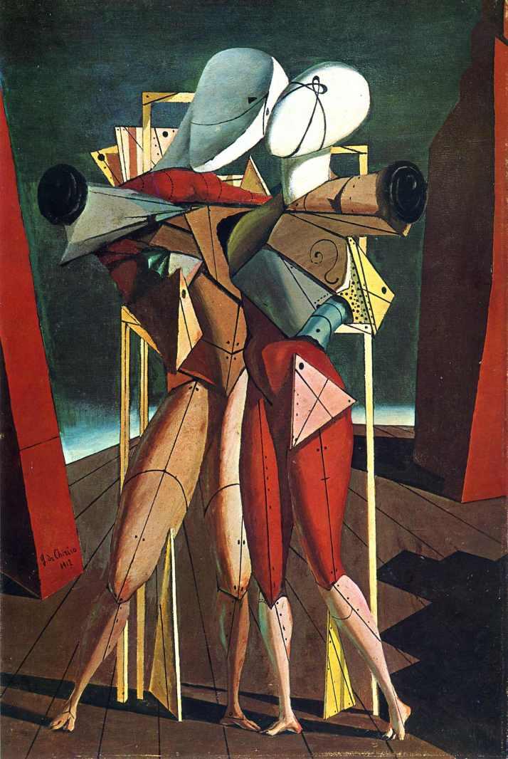 "De Chirico: ""Héctor y Andrómaca"", 1912. Óleo sobre panel. Galleria Nazionale d'Arte Moderna e Contemporanea, Roma."