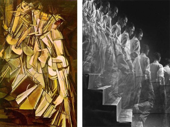 Duchamp bajando una escalera foto de Eliot Elisofon.