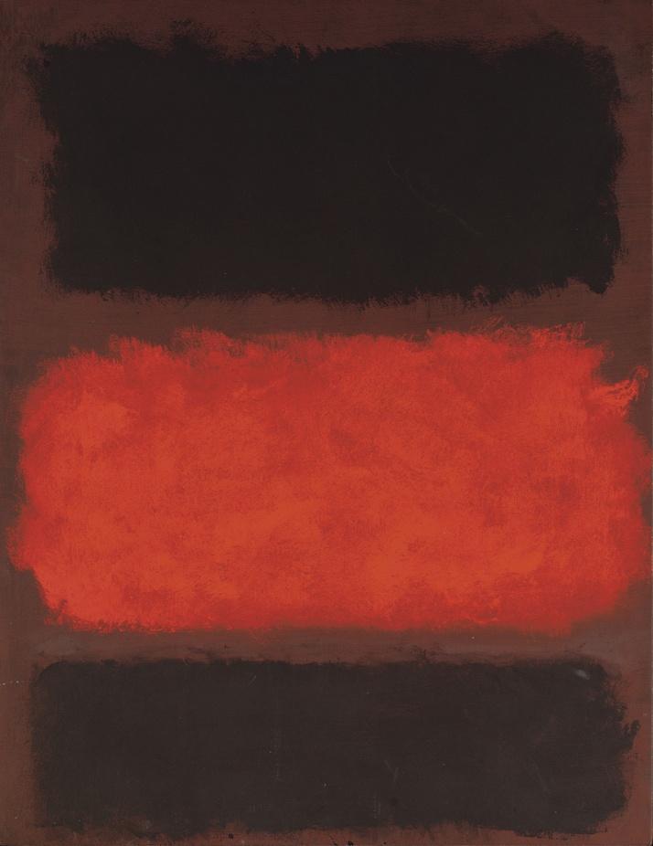 """Mark Rothko :""""Untitled (negro, rojo,negro sobre marrón"""""""