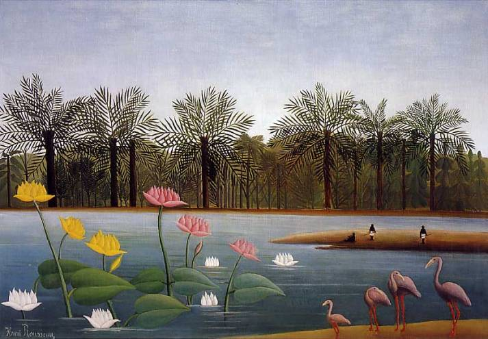 """Henri Rousseau : """"Los flamencos"""".Óleo sobre lienzo, 114 x 163. Colección privada."""