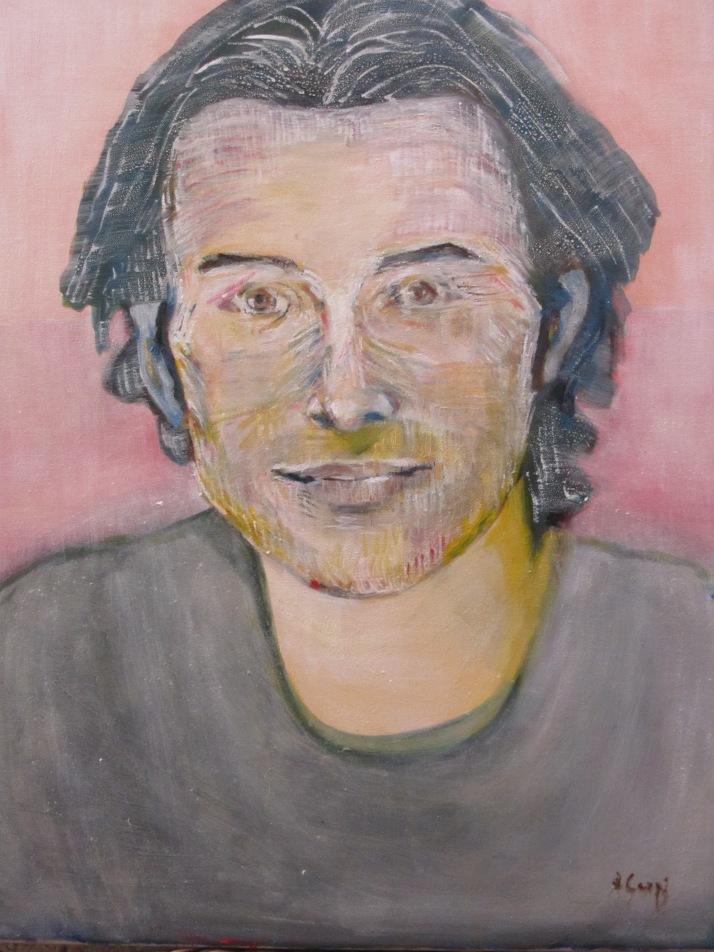"""Bárbara Carpi: """"Retrato de Aurelio"""". Óleo sobre lienzo. 2015.  65 x 54. Foto: Bárbara."""