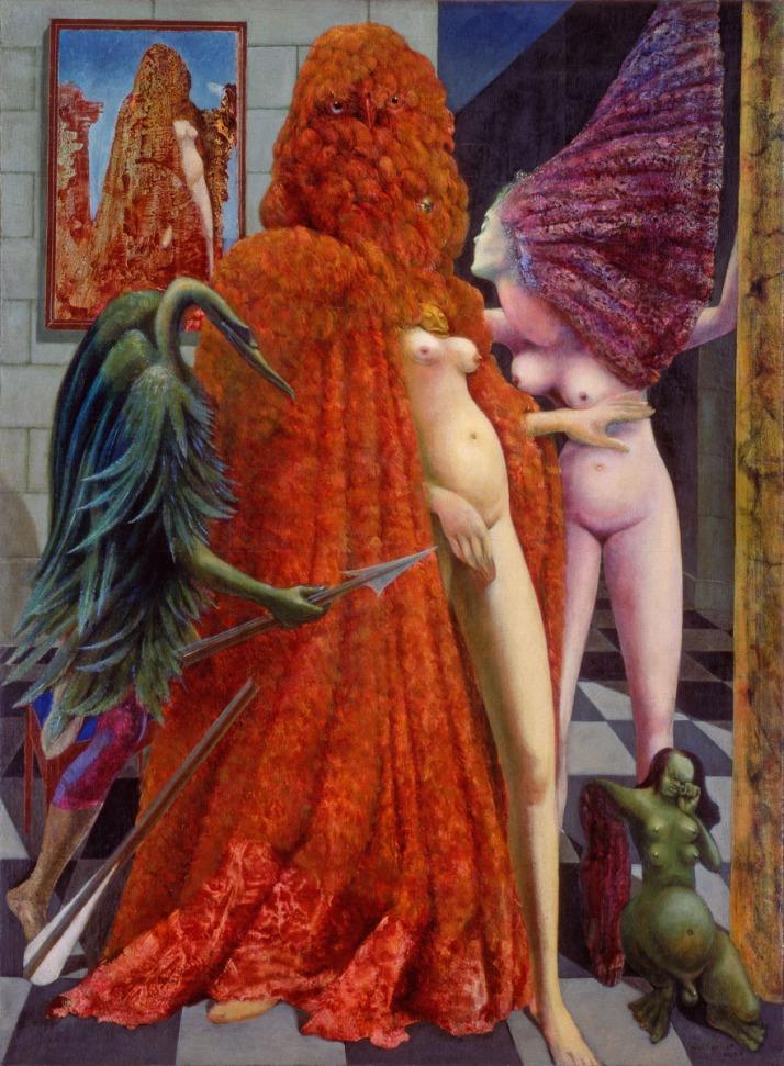 """Max Ernst : """"La toilette de la mariée"""". 1940, óleo sobre tela,129 x 93. peggy guggenheim collection, venecia."""