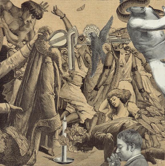 """Max Ernst: """" Et les femmes volcaniques relèvent et agitent, d'un aire menaçant, la partie posteriéure de leur corps"""" 1929. Collage sobre papel, 20 X 20."""