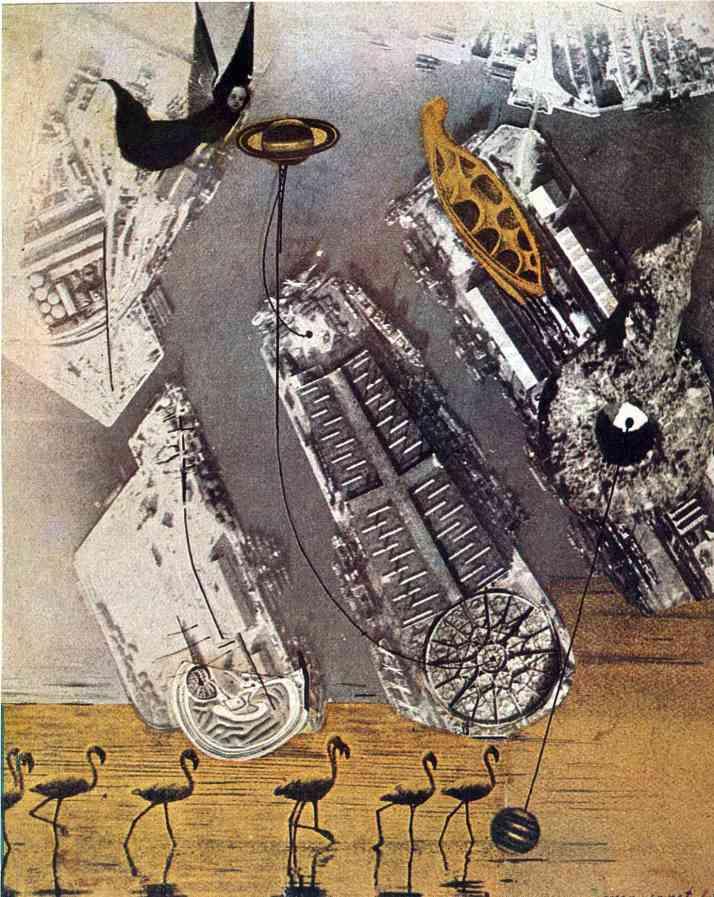"""Max Ernst: """"Cormoranes. 1920, collage sobre papel."""
