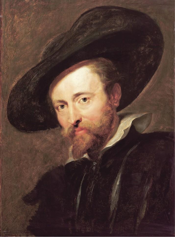 """Rubens: """"Autorretrato con sombrero grande"""". C. 1628-1630. Óleo sobre lienzo, 61 x 45 cm. Antwerp. Rubenshuir."""