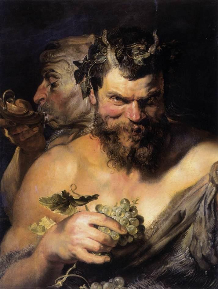 "Rubens: ""Dos Sátiros"". 1618-1619. Óleo sobre lienzo, 76 x 66. Alte Pinakothek, Munich."