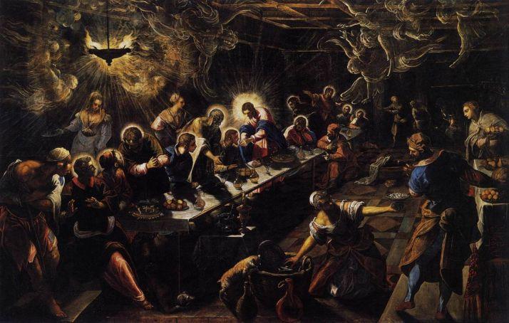 "Tintoretto: ""la última cena"". 1592-94. Óleo sobre lienzo, 365 x 568 cm, San Giorggio Maiore. Venecia"