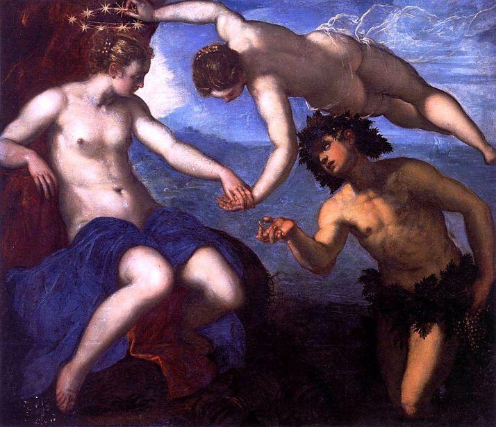 """Tintoretto: Venus, Baco y Ariadna"""". 1578. Oleo sobre lienzo. Palacio Ducal, Venecia."""