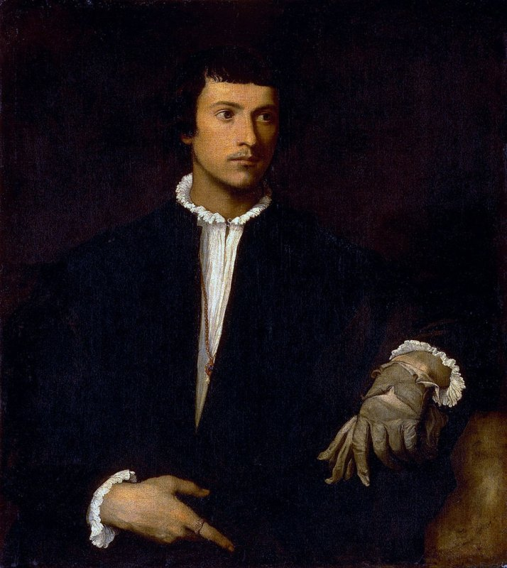 "Tiziano: ""El hombre del guante"".1523. Óleo sobre lienzo,  100 x 89. Museo del Louvre."