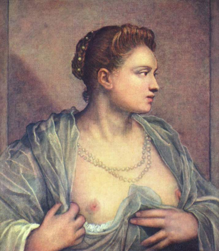 """Tintoretto: """"Dama enseñando el pecho"""". Óleo sobre lienzo. 61 x 65. Museo del Prado , Madrid."""