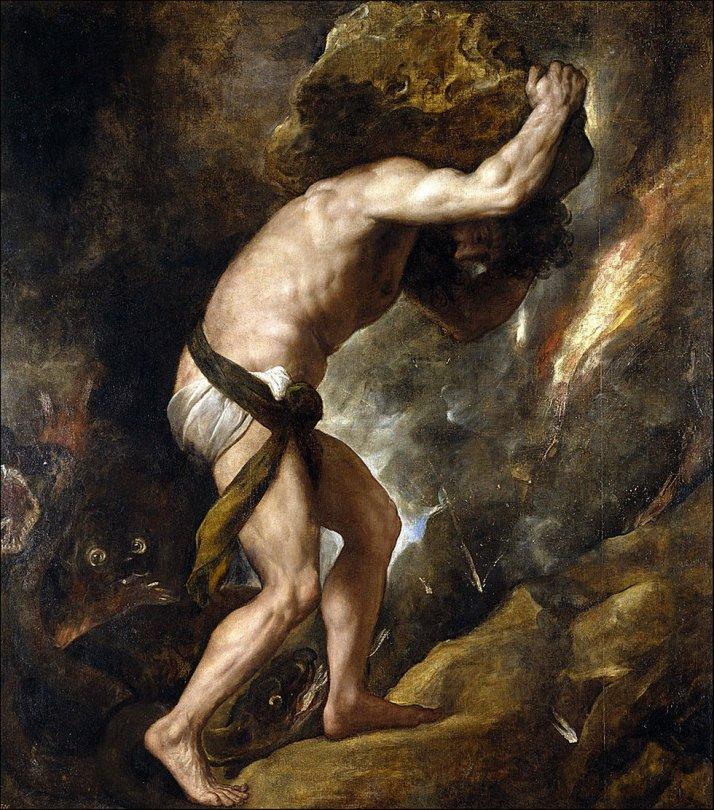 "Tiziano: ""Sísifo"".1543. Óleo sobre tela, 234 x 216. Museo del Prado."