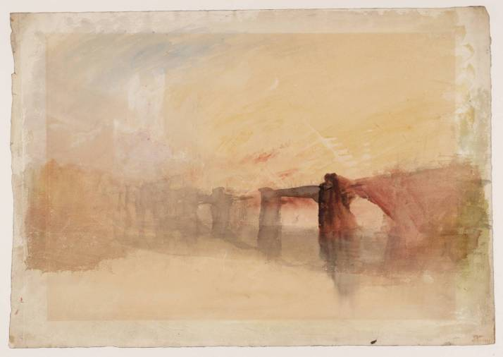 """W. Turner: """"Castillo de Rochester y puente"""". 1830. Láspiz y acuarela sobre papel. 1830. Tate Gallery."""