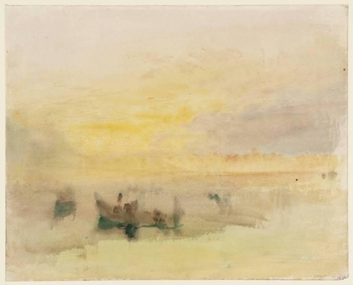 """W. Turner: """"Barcos en la laguna, cerca de Venecia"""" 1840.Acuarela sobre papel, 24 x 30. Tate Galley, Londres."""