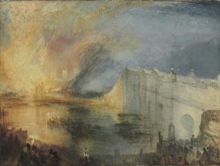 """W. Turner: """" El incendio de las Cámaras de los Lores y  de los comunes"""". Óleo sobre lienzo, 03 x 123.  Philadelphia Museum of Art.1835."""