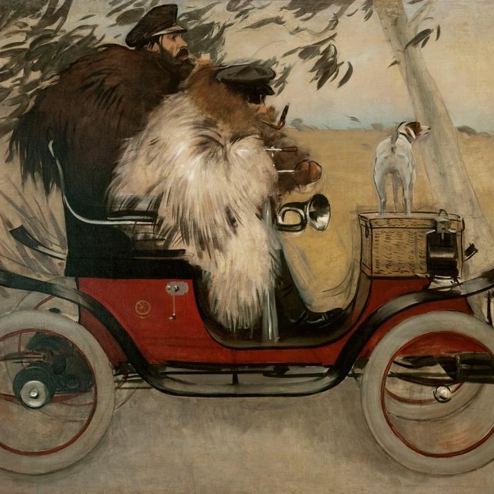 """Ramón Casas: """"Ramón casas y Pere Romeu en un automóvil"""" 1901"""