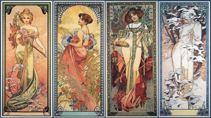 """Alfons Mucha:""""Las cuatro estaciones"""" 1900-"""