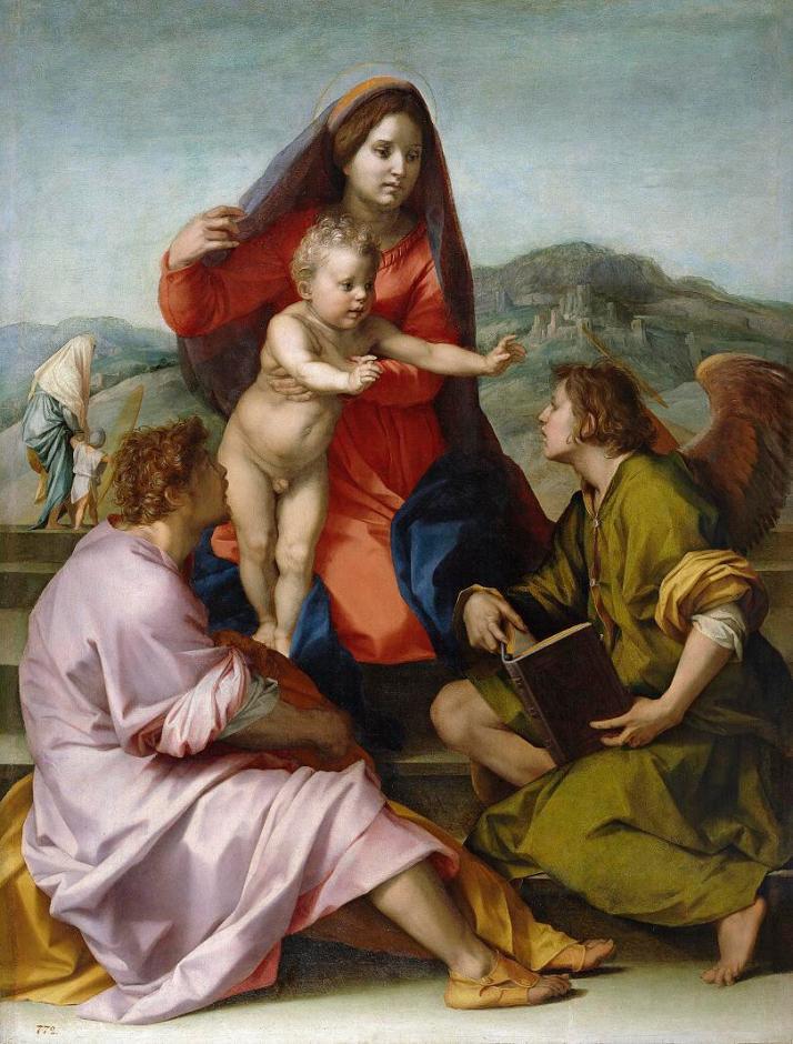 """Andrea del Sarto: """"La Virgen y el Niño entre S. Mateo y un ángel"""".C. 1529. Óleo sobre tabla, 98 x69. Museo del Prado, Madrid."""