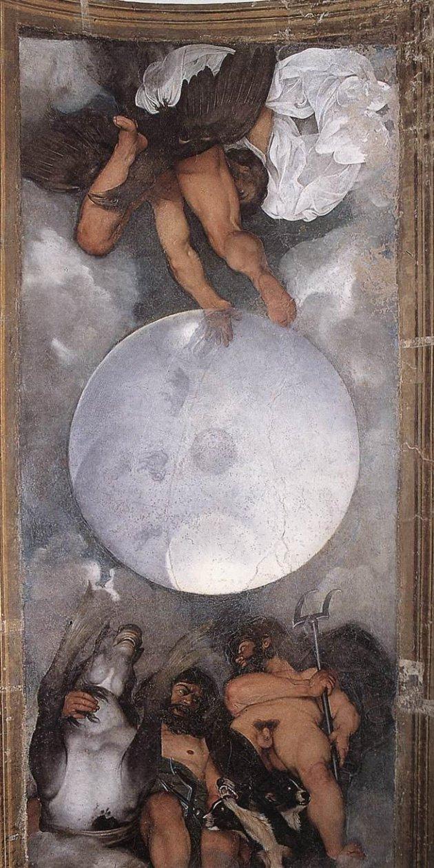 """Caravaggio: """"Júpiter, Neptuno y Plutón"""". 1597, Museo Casino Boncompagni Ludovisi. 500x 285. Fresco"""